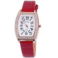 Fashion hours clock with full diamonds leather band watch women 2013 best birthday gift analog tonneau wrist watch dropship