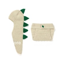 1 SET Korean Handmade Cartoon Dinosaur style Baby Photography Props Modeling Wool Suit (Cap+Shorts)Christmas Gift  XDT29