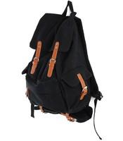 Korean version retro package schoolbag  High-capacity black backpack Casual shoulder bag Black