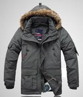 2013 male medium-long down coat velvet male liner down coat men's winter jacket warm coat size S-4XL free shipping