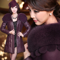Leather down coat female genuine leather clothing oversized fox fur sheepskin outerwear genuine leather female medium-long down