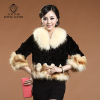 Royal 2013 raccoon fur rabbit fur three quarter sleeve genuine leather fur outerwear short design