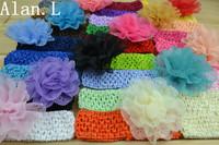 Wholesale beautiful 26 Crochet Headbands and 12 Soft Chiffon Daisy Flower for baby girls