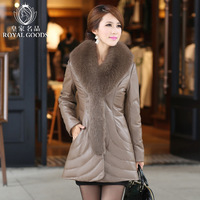 2013 leather clothing genuine leather down coat female sheepskin leather clothing large fox fur medium-long