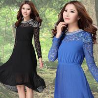 2013 autumn bohemia full dress plus size clothing long-sleeve lace patchwork chiffon one-piece dress