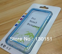 TPU + PC Hybrid Clear Bumper For Samsung Galaxy Note 3 iii Note3 Frame Case, With Retail Packaging, 1000pcs/Lot DHL Freeshipping