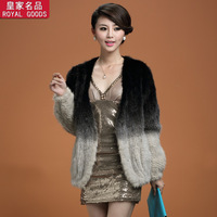 New arrival 2013 mink knitted puff sleeve black gradient color medium-long fur coat