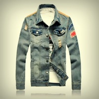 Autumn and winter coat jacket male denim outerwear slim hole jacket vintage motorcycle jacket male