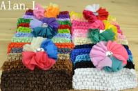 Amazing 6pcs Chinffon Frayed Shabby Flowers Crystal Diamond center Hair clips+26 pcs Chrochet Headbands