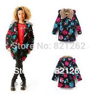 2013 new france brand catimini winter children girls outerwear flower long thick fur collar detachable hooded jacket 3-12T