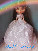Free Shipping hot sale BL-159# accessories wedding dress for  Blythe doll  / kurhn/Barbie girls birthday gift