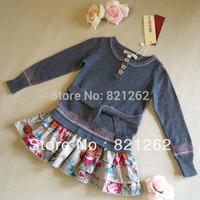2014 new autumn and winter brand children clothing girls dress wool long sleeve tutu flowers fashion 3-8T