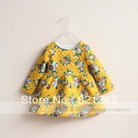 2013 new autumn and winter children girls long sleve dress printed flowers 3 colors cotton padded 3-8T