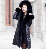 2013 Winter Women Real Fox Fur Hooded Solid Black Long Genuine Sheepskin Leather Down Coat Fox Fur Collar & Waist Belt Slim Fit