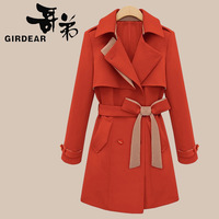 2013 trench autumn and winter fashion elegant slim double breasted trench outerwear female turn-down collar trench