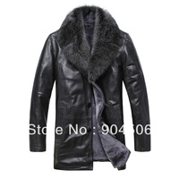 On Sale 2013  New Arrival men 100% sheep skin fur with fox fur collar coat + 4XL warm winter jacket+Free Shipping+quality coat