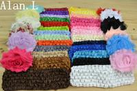"LOT OF 38 Baby Girls 2.5"" Chiffon Shabby rose flowers Hair bows & 1.5"" Crochet Headband"