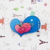 Exclusive Sales Acrylic Children Cartoon Headdress Diamante Double Love Heart Barrettes Import Machinery Production