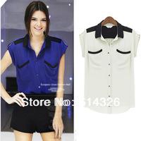 New Summer 2014 Women Lapel Collar Double Pockets Blouse Lady Casual Shirt Chiffon Tops For Women SX0077