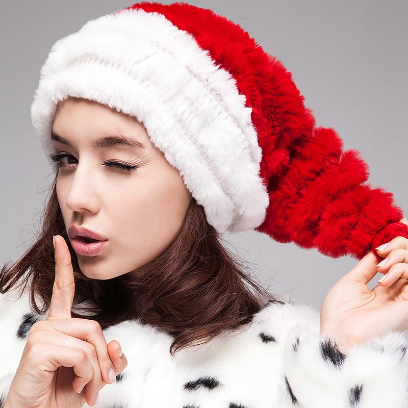 Autumn and winter rex rabbit hair christmas cap women's leather hat fashion style designer 2013 174(China (Mainland))