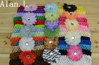 "LOT OF 42 Baby Girls 2"" Crystal Daisy Flower Hair bow clips & 1.5"" Crochet Headband"