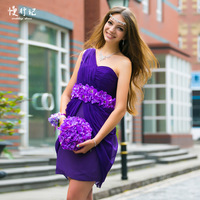 2013 New Arrival Popular  Purple One-shoulder empire waist Chiffon Bridesmaid dress