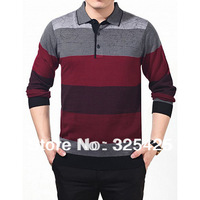 Fashion Casual Knitted Cashmere Tops For Men Print Stripe Long-sleeve Spring Autumn Turn-down Collar Men T shirt Dad Clothing