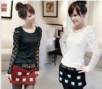 Hot Korean version of the full lace shrug Puff bottoming shirt long-sleeved T-shirt T0017