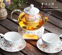 Fashion afternoon tea rustic fruit tea set heated insulation cup ceramic glass flower pot set