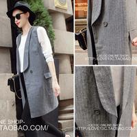 2013 gentlewomen coveredbuttons brief elegant medium-long woolen stripe suit vest