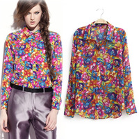 The new 2014 spring and summer women chiffon blouse \ Europe Fan street fashion large lapel long sleeve flower print blouse
