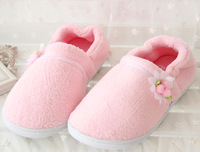 Winter small flower home plush floor women flower shoes maternity package with thermal cotton-padded slippers