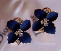 Sapphire blue stereo camellia earrings,high quality earrings,fashion jewelry,antiallergic,Factory price,Free shipping