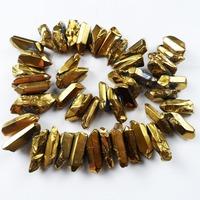 E2 Free Shopping  Gold crystal Agate Druzy Quartz Geode stone loose bead 45pcs/lot