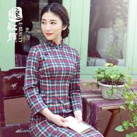 Autumn improved cheongsam dress fashion vintage flock printing plaid long Qipao