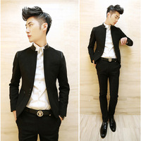 2013 autumn slim woolen patchwork men's casual stand collar thin suit male outerwear suit male
