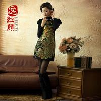 Double rabbit 2 ask any girl fur fashion of improved cheongsam dress vintage cheongsam autumn and winter