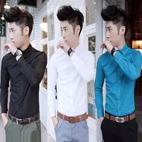 Shirt fashion casual career men's clothing long-sleeve shirt slim male 100% cotton shirt white black
