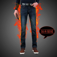 Plus velvet thickening autumn and winter male jeans water marten velvet thermal cold-proof velvet trousers straight male slim