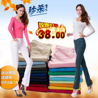 2013 women's candy color jeans boot cut female slim plus size pants mid waist trousers