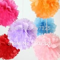 Hot Sale! 200pcs/LOT,  8 Inch Tissue Pom Pom Paper Pompoms Wedding Decoratons Party Poms House Decor, 25 Colors To Pick