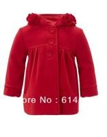 Autumn and winter fashion female child wool coat 2013 New Arrival designer girls brand outerwear kids flower wool jacket coat