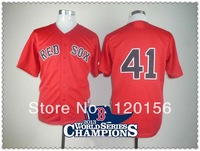 Hot ! Boston Red Sox 41 John Lackey Red Baseball Jerseys with2013 World Series Champions Patch Embroidered Logo 48-56