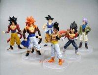 Free shipping 6pcs dragon ball 6generation Trunks Goku pvc figure toy tall 10cm set.Wholesale 6pcs/set.