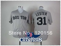 Hot ! Boston Red Sox 31 Jon Lester Grey Baseball Jerseys with2013 World Series Champions Patch Embroidered Logo Mix Order