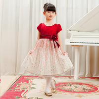 Red child dress princess dress autumn and winter flower girl wedding dress one-piece dress female child evening dress dance