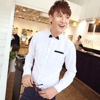 2013 autumn male trend men's long-sleeve shirt clothing shirt slim basic shirt casual male shirt