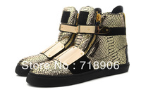 Big Gold metal plate Giuseppe sneakers for Men Python Printed Gold Leather gz shoes