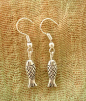 FREE SHIPPING Yunnan national accessories silver jewelry small fish drop earring