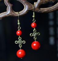 National trend accessories bronze vintage tibetan silver tibetan earrings marriage wedding female seedlings silver drop earring